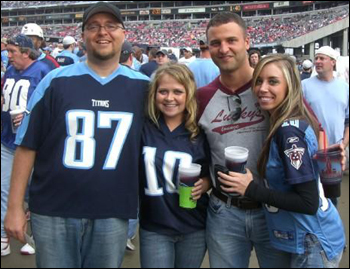 Crew at the Titans game